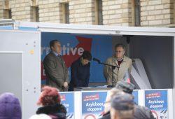 Die AfD und ihre Redner in Leipzig. Foto: Alexander Böhm