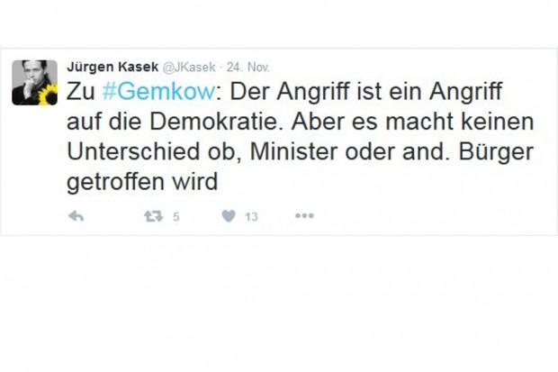 Eine Wortmeldung zum Anschlag auf Sebastian Gemkow (Justizminister Sachsen). Screen: Tweet Jürgen Kasek, Twitter