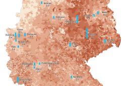 Leerstandsquoten in deutschen Gemeinden 2011. Foto: UFZ (Datengrundlage: Statistische Ämter des Bundes und der Länder 2014c)