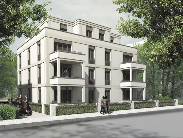 Bleichertstraße 13: Hier ist mittlerweile der Rohbau abgeschlossen. Visualisierung: Fuchshuber Architekten