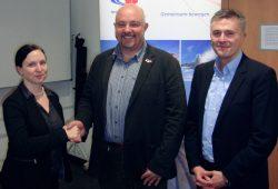 Susann Quast, Vorstandsmitglied Netzwerk Logistik Leipzig-Halle; Marko Weiselowski, Vorstandsmitglied Netzwerk Logistik Leipzig-Halle; Toralf Weiße, Vorstandsvorsitzender Netzwerk Logistik Leipzig-Halle. Foto: NLLH