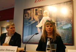 Gundula Schulze Eldowy mit Dr. Jürgen Reiche bei der Pressekonferenz zur Ausstellungseröffnung. Foto: Ralf Julke
