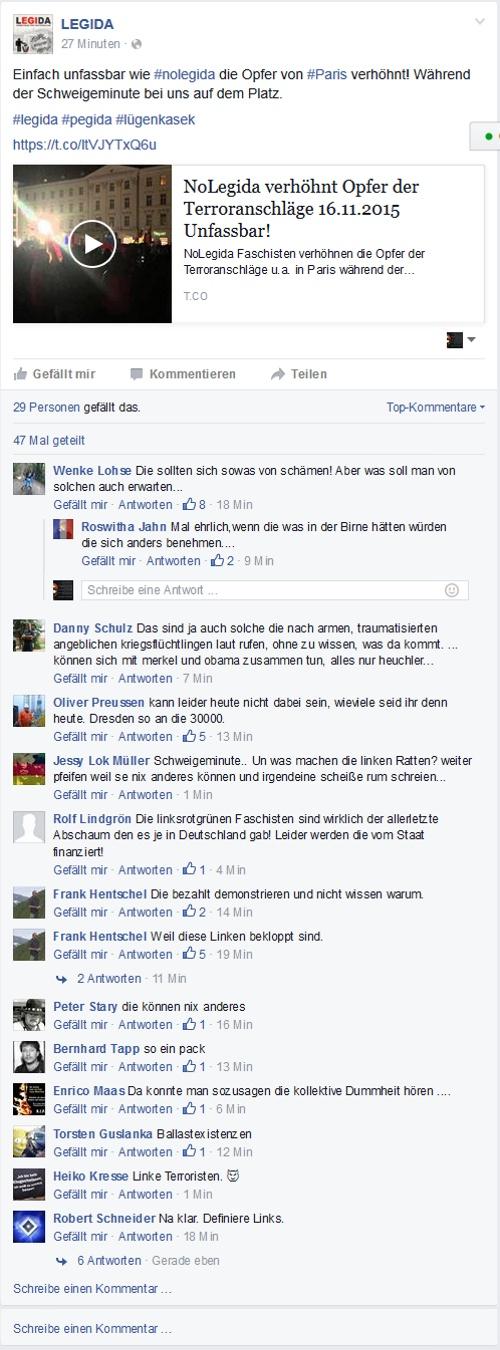 Screenshot der öffentlich einsehbaren Facebookseite von Legida am 16.11.