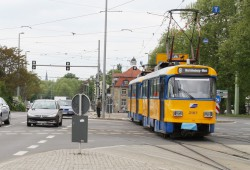 Straßenbahn der LVB am Martin-Luther-Ring. Foto: Ralf Julke