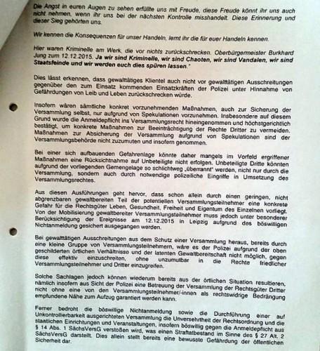 """""""Böswilliges Nichtanmelden"""" und die Begründung zum Schutz der Allgemeinheit durch das Versammlungsverbot. Quelle: Stadt Leipzig, Twitter"""