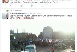 Die Debatten laufen - die zwei Seiten der Medaille, während längst die Gewalt dominiert. Screen Twitter