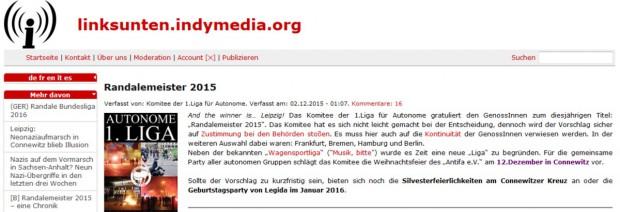 """""""falls der 12. Dezember zu kurzfristig ist"""" - eine Silvester-Einladung vom 2. Dezember 2015 auf Indymedia. Screenshot von linksunten.indymedia.org"""