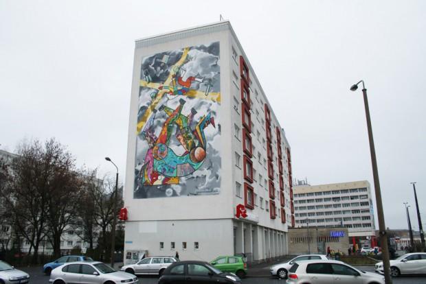 Der frisch gestaltete Giebel in Nähe des Bayrischen Platzes. Foto: Ralf Julke