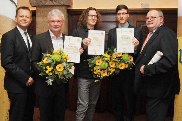 """Auszeichnung zum 12. """"Ur-Krostitzer Jahresring"""": Torsten Bonew, Peter Schwarz, Michael Liebmann, Tobias Müller und Wolfgang Welter. Foto: Westend-PR/Dieter Grundmann"""