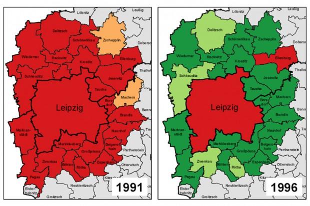 Schrumpfprozess als Genesung: Leipzig 1991 und 1996. Karten: Stadt Leipzig, Quartalsbericht III/ 2015