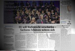 """LVZ am 7. Dezember 2015: """"Sachsens Schützen wehren sich"""". Montage: L-IZ"""