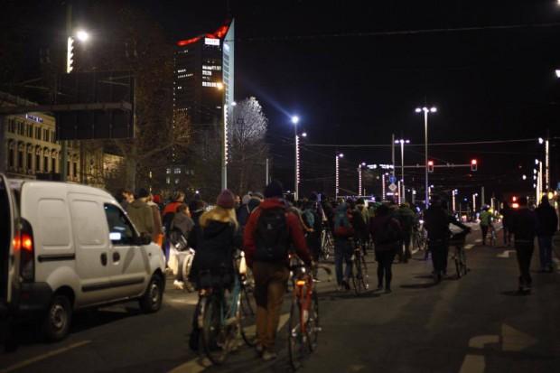 Eine Demonstration führte von der Karl-Heine-Straße in die City. Marcus Fischer