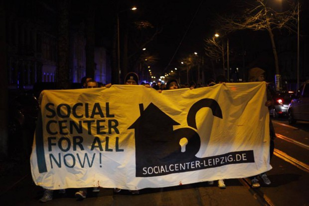 Demonstration für ein Social Center Leipzig. Foto: Marcus Fischer