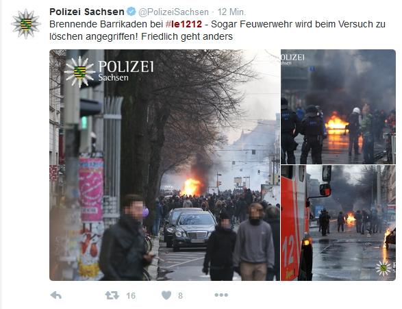 Die Polizei Sachsen kommentiert den eigenen Einsatz live auf Twitter. Screen Twitter