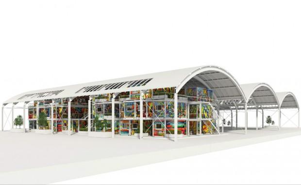 Auf dem Südareal werden die Module unter den alten Hallendächern aufgebaut. Grafik: CG Gruppe