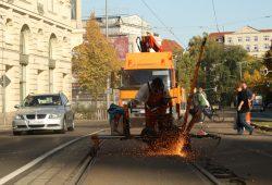 Schweißarbeiten am Dittrichring in Leipzig. Foto: Ralf Julke