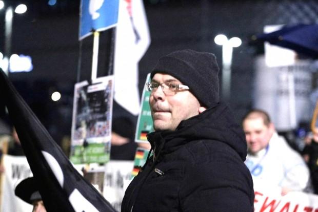 Das war's: Nach neun Monaten gibt Markus Johnke den Legida-Vorsitz ab (hier am 11. Februar 2016). Foto: L-IZ.de
