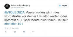 Bedrohung von Marcel Nowicki von NoLegida bei Fanszene Lok LE. Screenshot Twitter