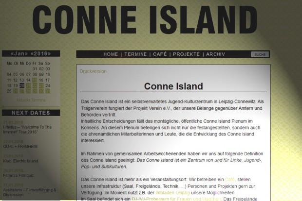 Die Homepage des Conne Island. Screenshot: L-IZ