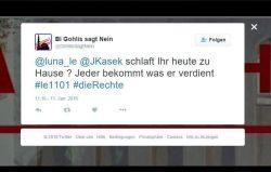 """""""Jeder bekommt, was er verdient"""" - Massive Bedrohungen gegen Kasek und Nagel parallel zu den Randelen in Connewitz, hier seitens """"Gohlis sagt Nein"""" auf Twitter. Screenshot Twitter"""