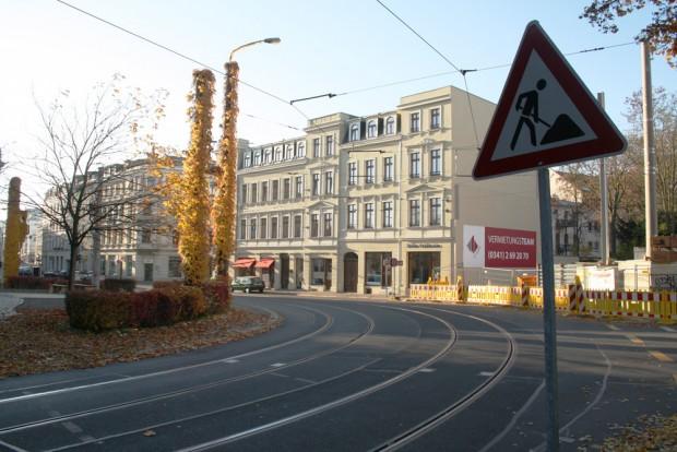 Die Gleiskurve aus der Lützowstraße in die Gohliser Straße. Foto: Ralf Julke