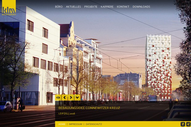 Die Vision des Hochhauses auf der Website von klm Architekten. Screenshot: L-IZ