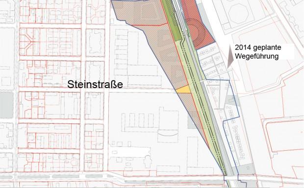 Die Skizze zum Wegeverlauf im Stadtratsbeschluss von 2014. Karte: Stadt Leipzig
