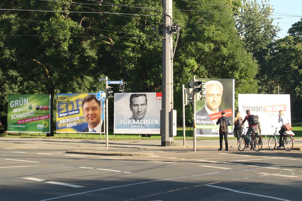 Plakate zur Landtagswahl 2014. Foto: Ralf Julke