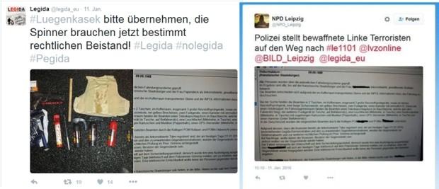 Verbreitung Seit an Seit: Legida & NPD Leipzig bei Twitter mit den Unterlagen. Screens Twitter Legida & NPD Leipzig