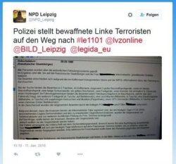 NPD Tweet mit polizeiinternen Informationen. Screenshot eines Twitter-Beitrages einer weiteren Userin