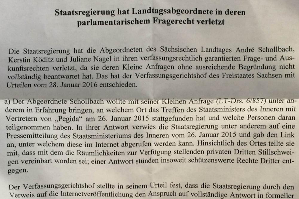 Pressemitteilung zum Gerichtsurteil vom 28. Januar. Repro: L-IZ