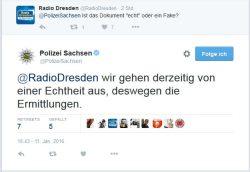 Polizei bestätigt Ermittlungen via Twitter. Screen Twitter