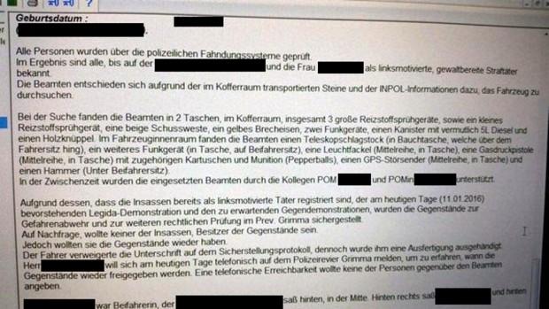 Polizeiinterne Einsatzunterlagen der Polizei am 11. Januar 2016 bei Legida und NPD Leipzig auf Twitter erschienen. Hier mit geschwärzten persönlichen Daten. Foto: Legida Twitter