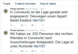 Die Polizei Sachsen ist aufgrund der Stimmung in Connewitz besorgt. Foto: Screen Twitter Polizei Sachsen