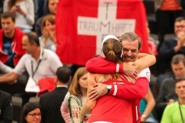 Die 18-jährige Belinda Bencic (SUI) eröffnete das Fed-Cup-Viertelfinale mit einem 6:3-, 6:4-Sieg gegen Andrea Petkovic (GER). Foto: Jan Kaefer