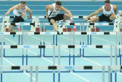 Alle drei Leipziger im Finale über 60m Hürden. Erik Balnuweit (mi.) und Alexander John (re.) sorgten für einen DHfK-Doppelsieg. Foto: Jan Kaefer