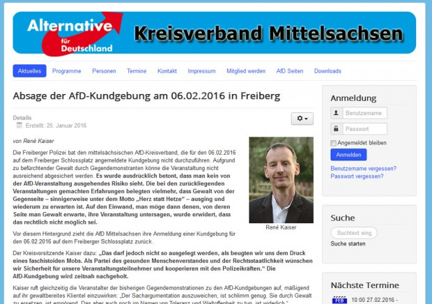 Afd-Mittelsachsen-Meldung vom 25. Januar. Screenshot: L-IZ
