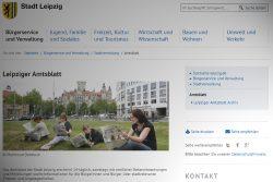 Webauftritt des Leipziger Amtsblattes. Screenshot: L-IZ
