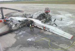 2013 auf dem Vorfeld des Flughafens ausgebrannt: eine mit Küken beladene Antonov 12. Foto: Flughafen Leipzig / Halle