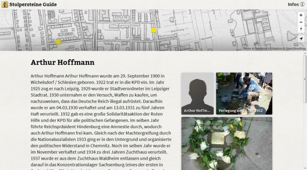 Beim Anklicken werden die Informationen - hier über Arthur Hoffmann - sichtbar. Screenshot: L-IZ