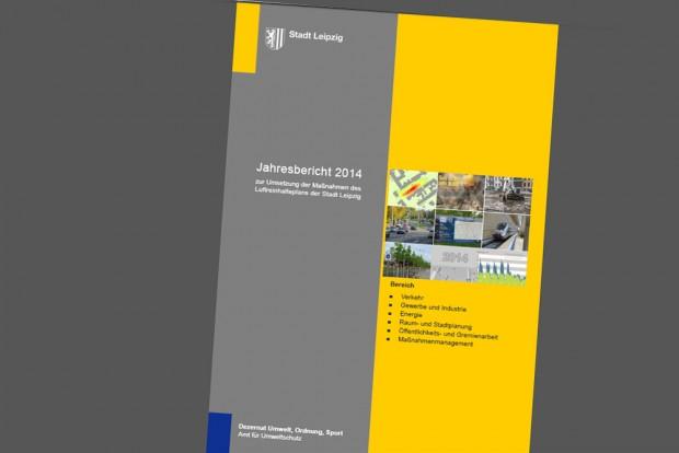 Umsetzungsbericht zum Luftreinhalteplan 2014. Cover: Stadt Leipzig
