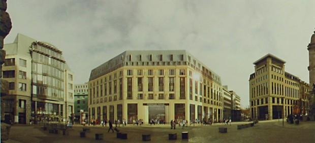 Platzansicht mit der Siegerfassade. Entwurf: Christoph Kohl │KK Architekten GmbH