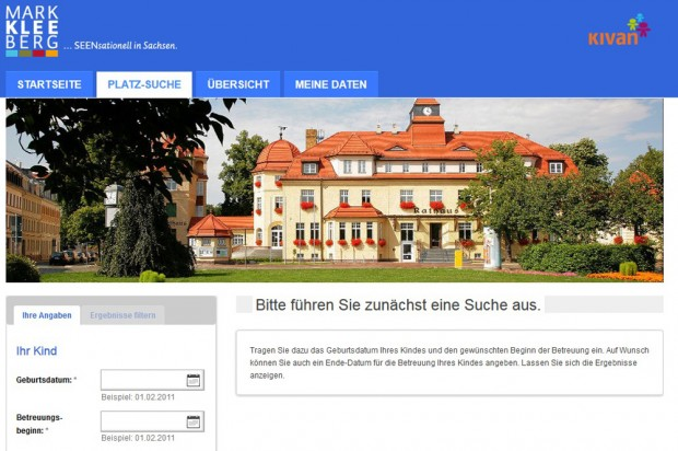 So wird das Portal für das Markkleeberger KIVAN ab Montag aussehen. Screenshot: Stadt Markkleeberg