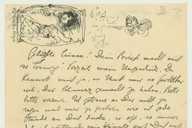 Max-Klinger-Brief an Elsa Asenieff. Foto: Stadtgeschichtliches Museum Leipzig