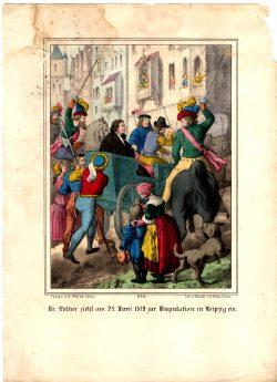 """""""Flugblatt"""": Luthers Einzug in Leipzig am 24. Juni 1519. Erhobene Stichwaffen zeugen nicht von Gastfreundschaft. Hier hat sich jemand viel Mühe gemacht beim Kolorieren eines Stichs aus einem geflederten Buch. Repro: Karsten Pietsch"""