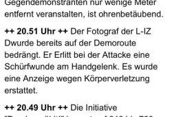 LVZ meldet Übergriff auf L-IZ - Fotografen im Liveticker. Foto: Screen LVZ