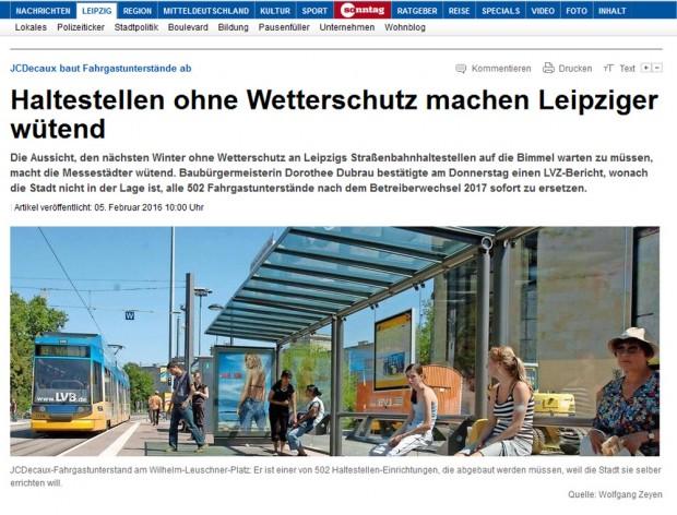 Wütende Leipziger? - LVZ Online am 5. Februar. Screenshot: L-IZ
