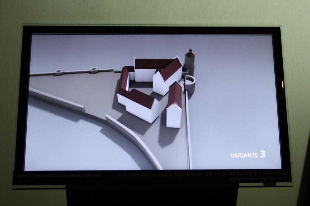 """Das Schloss der Markgrafen wie es sich Studierende aus Mainz 2015 vorstellten. 3-D-Simulationen in Varianten in der Ausstellung """"Leipzig - Von Anfang an"""" im Stadtgeschichtlichen Museum. Foto: Karsten Pietsch"""