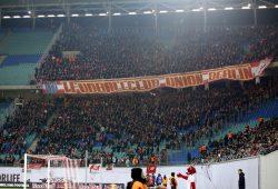 Die Berliner Fans - Zunächst nicht anwesend, dann ist der Block voll. Foto: Alexander Böhm