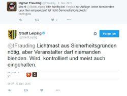 Am 5. November 2015 bereits Thema auf Twitter - die Blendlichter bei Legida und die Zusage, dass man sich darum kümmern wird. Screenshot Twitter Stadt Leipzig